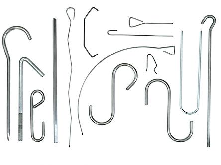 Cambrage de divers articles en acier. Crochet, brochettes